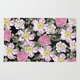 Vintage Rose Pattern Pink On Chalkboard Rug