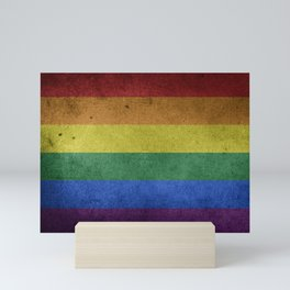 LGBTQ Rainbow Pride Flag (Weathered) Mini Art Print