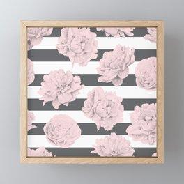 Rose Garden Stripes Pink Flamingo on Storm Gray and White Framed Mini Art Print