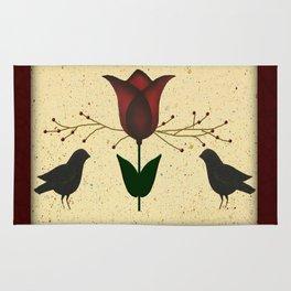 Primitive Tulip And Crows Rug