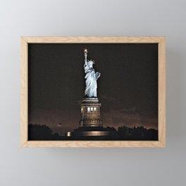 Nighttime Statue of Liberty and Flag Framed Mini Art Print