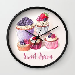 Sweet dream Cute cupcakes with berries Hand-drawn illustration Wall Clock