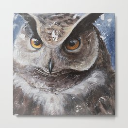 """The Owl - """"Watch-me!"""" - Animal - by LiliFlore Metal Print"""