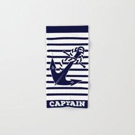 Nautical Navy Blue Anchor and Stripes Captain's Design Hand & Bath Towel
