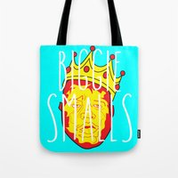 biggie smalls Tote Bags featuring Biggie Smalls by Hussein Ibrahim