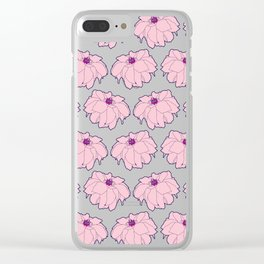 Pink Dahlia Flower Illustrated Print Clear iPhone Case