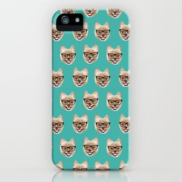 Pomeranian dog breed hipster glasses intellectual dog lover with personality iPhone Case