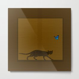 cat behind a noren Metal Print