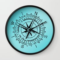 nautical Wall Clocks featuring Nautical  by gypsykissphotography
