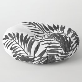 Palm Leaves Black Floor Pillow