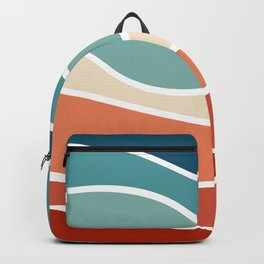 Colorful retro style waves Backpack