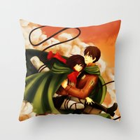 shingeki no kyojin Throw Pillows featuring Shingeki no Kyojin ~Eren & Mikasa~ by eriboook