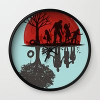 family Wall Clocks featuring A Family Once by Jay Fleck