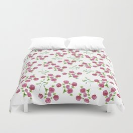 Watercolor roses on white backgroung Duvet Cover