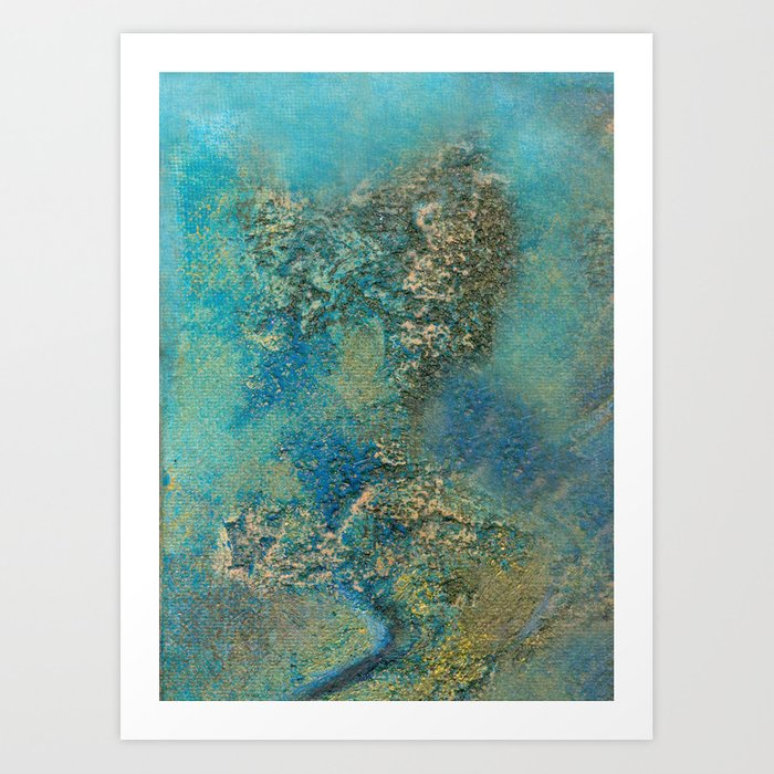 Blue And Gold Modern Abstract Art Painting Art Print