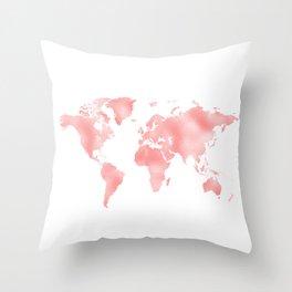 Pink Shiny Metal Foil Rose Gold World Map Throw Pillow