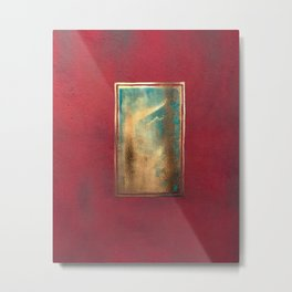 Deep Red, Gold, Turquoise Blue Metal Print