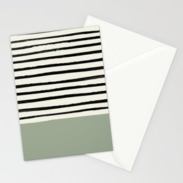 Sage Green x Stripes Stationery Cards