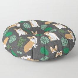 corgi palm monsteras summer dog breed pure breed pets Floor Pillow