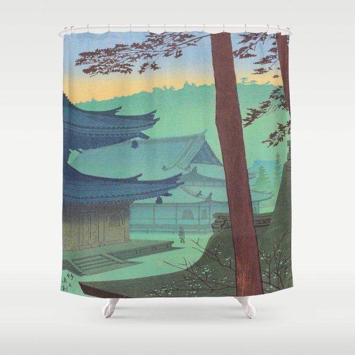 Asano Takeji Japanese Woodblock Print Vintage Mid Century Art Teal Turquoise Sunrise Shrine Shower Curtain