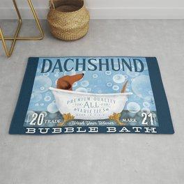 Longhaired Dachshund dog Wash Your Wiener bubble bath clawfoot tub soap bubble  Rug