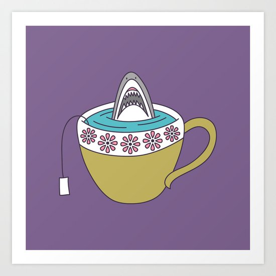 Shark in Tea Art Print