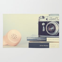 Film Camera and Pink Telephone (Retro and Vintage Still Life Photography) Rug
