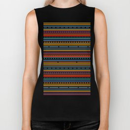 Multicolored lines and dots Biker Tank