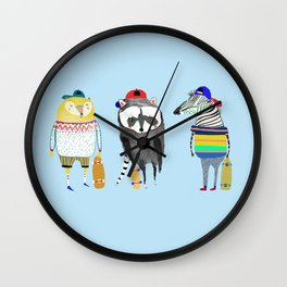 The skateboarders. skateboard print - skating - animal art. Wall Clock