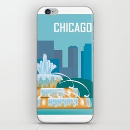 Chicago, Illinois - Skyline Illustration by Loose Petals iPhone Skin