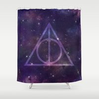 deathly hallows Shower Curtains featuring Deathly Hallows in Space by Hannah Ison