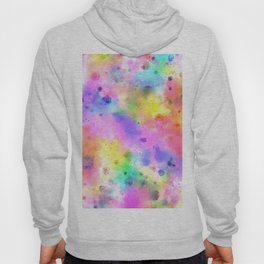 Pastel Rainbow Watercolor Abstract Painting With Dots & Splashes Hoody
