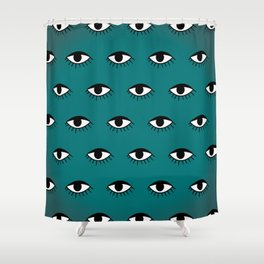 Black & White Eye Pattern on Teal Ombre Background Shower Curtain