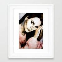 lana del rey Framed Art Prints featuring Del Rey by Luna Perri