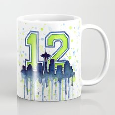 Hawks 12th Man Fan Art Seattle Space Needle Mug