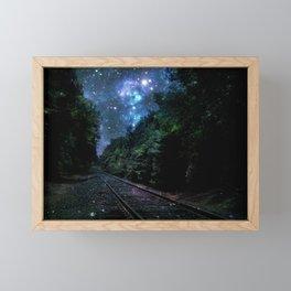 Train Tracks : Next Stop Anywhere Blue Side View Framed Mini Art Print