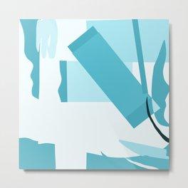 Matisse Inspired Teal Collage Metal Print
