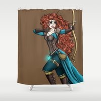 merida Shower Curtains featuring Steampunk Merida by Hungry Designs