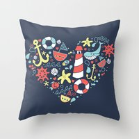 nautical Throw Pillows featuring Nautical by lindsey salles