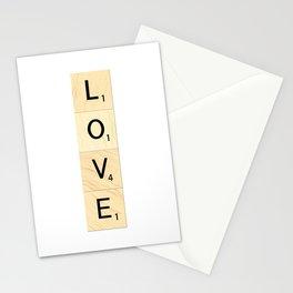 LOVE - Vertical Scrabble Letter Tiles Art Stationery Cards