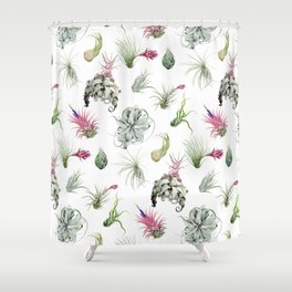 Tillandsia white Shower Curtain