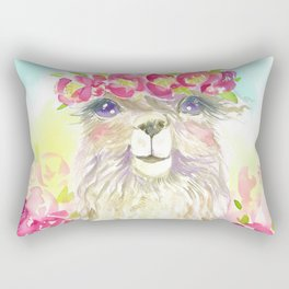 Llama in flower crown Rectangular Pillow