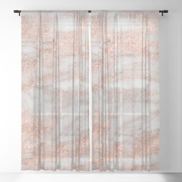 Martino rose gold marble Sheer Curtain