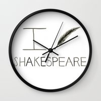 shakespeare Wall Clocks featuring Shakespeare by Normandie Illustration