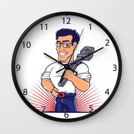 blue plumber holding a big wrench Wall Clock