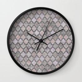 Blush And Grey Moroccan Tiles  Wall Clock