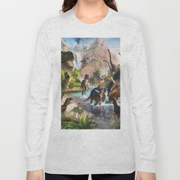 Jurassic dinosaurs in the river Long Sleeve T-shirt