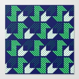 Clover&Nessie Denim/Spinach Canvas Print