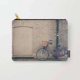 maroon bicycle in Cambridge print Carry-All Pouch