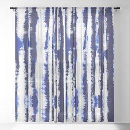 Tie-Dye Shibori Stripe Blue Sheer Curtain